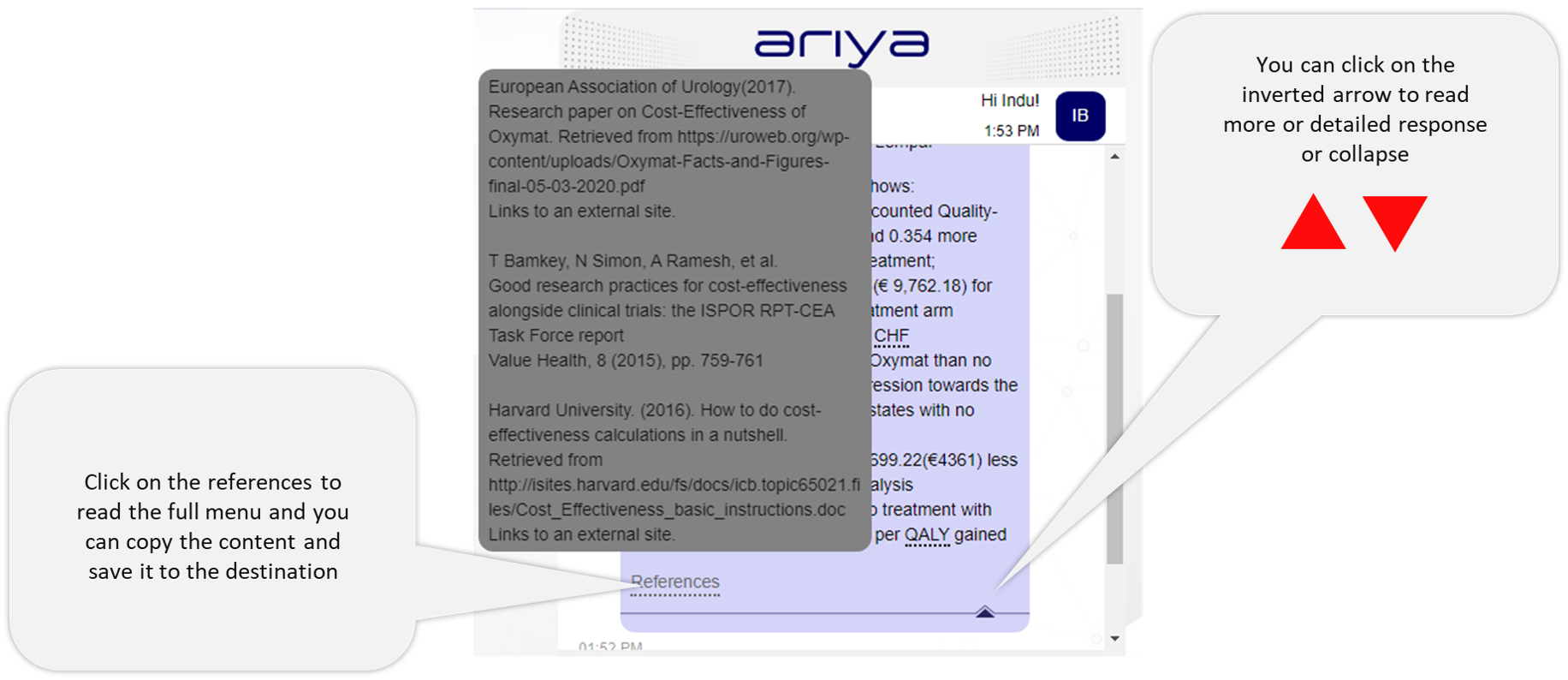 Ariya references and detailed answers
